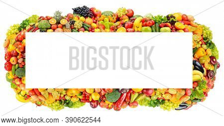 Rectangular wide frame colorful fruits, vegetables and berries isolated on white background.