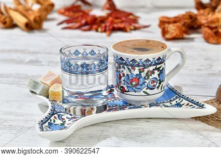 Traditional Turkish coffee served with Turkish delight