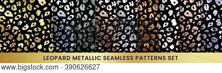 Trendy Golden Leopard Abstract Seamless Pattern Set. Vector Wild Animal Cheetah Skin Gold, Silver, C