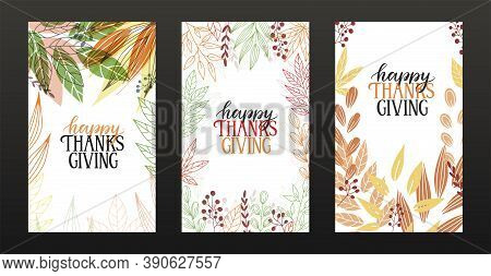 Set Of Three Happy Thanksgiving Greeting Cards. Happy Thanksgiving Hand Sketched Lettering On Colorf