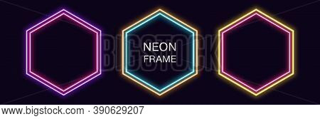 Neon Hexagon Frame. Set Of Hexagonal Neon Border With Double Outline. Geometric Shape With Copy Spac
