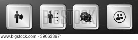 Set Team Leader, User Of Man In Business Suit, Hand Like And Project Team Base Icon. Silver Square B