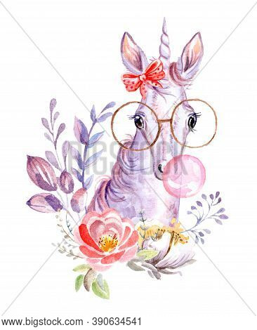 Cute Dreaming Unicorn In Glasses With Bubble Gum And Bow And Flowers, Watercolor Illustration Isolat