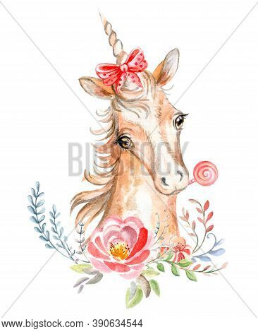 Cute Dreaming Romantic Unicorn With Flowers, Candy And Bow. Watercolor Illustration Isolated On Whit