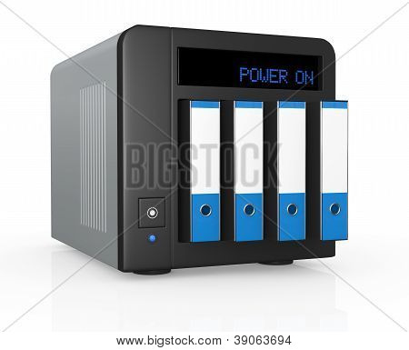 one nas (network attached storage) with four office folders instead of hard drives (3d render) poster