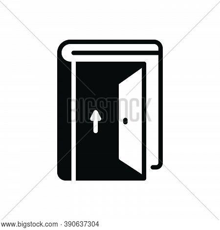 Black Solid Icon For Admission Door Gate Exit Egress Gateway Entrance Entry Penetration Ingress