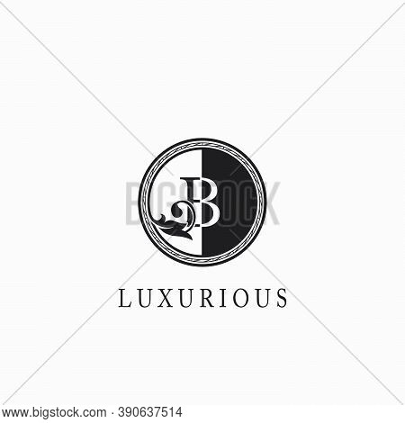 Vintage Circle B Letter  Logo Icon. Classy Ornate Leaf Shape Design On Black And White Color For Bus