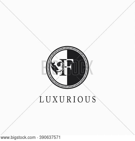 Vintage Circle F Letter  Logo Icon. Classy Ornate Leaf Shape Design On Black And White Color For Bus