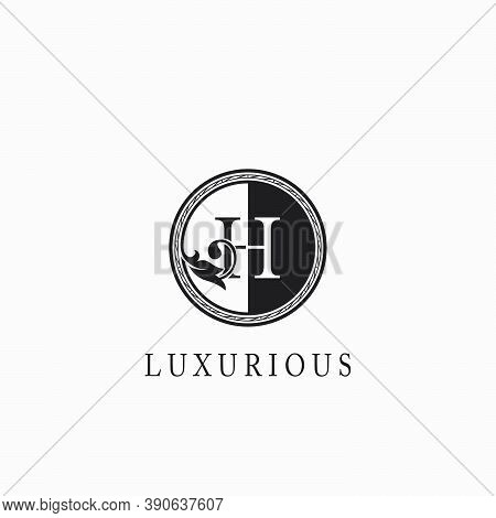 Vintage Circle H Letter  Logo Icon. Classy Ornate Leaf Shape Design On Black And White Color For Bus