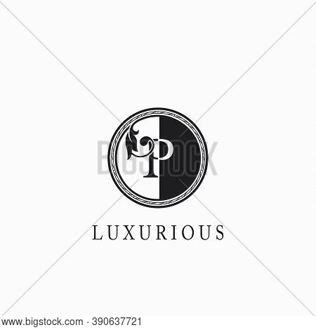 Vintage Circle P Letter  Logo Icon. Classy Ornate Leaf Shape Design On Black And White Color For Bus