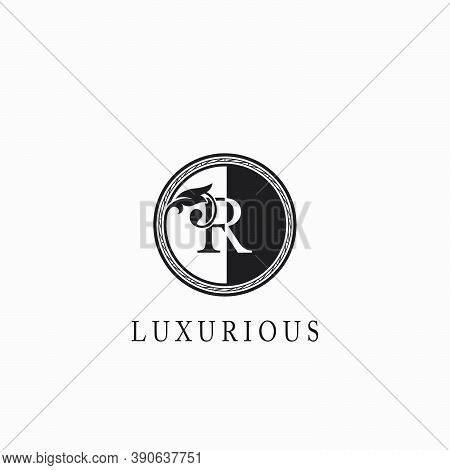 Vintage Circle  R Letter  Logo Icon. Classy Ornate Leaf Shape Design On Black And White Color For Bu