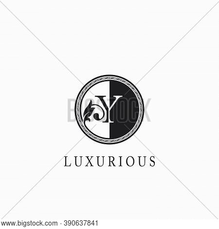 Vintage Circle  Y Letter  Logo Icon. Classy Ornate Leaf Shape Design On Black And White Color For Bu