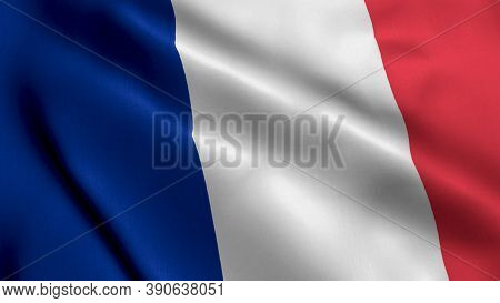 France Satin Flag. Waving Fabric Texture Of The Flag Of France, Real Texture Flag. Realistic Flag. W