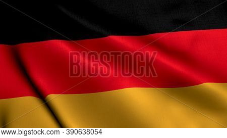 Germany Satin Flag. Waving Fabric Texture Of The Flag Of Germany, Real Texture Flag. Realistic Flag.