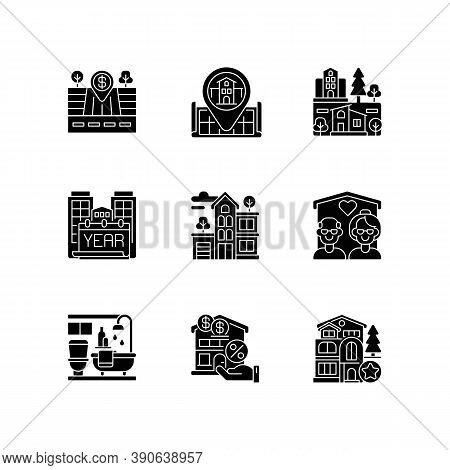 House Services Black Glyph Icons Set On White Space. Empty Lot For Sale. Home Position On Map. Nursi