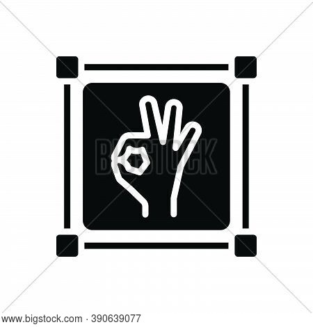 Black Solid Icon For Perfect Good Better Masterly Nailing  Excellent Ok Sign Gesture Sure Okay