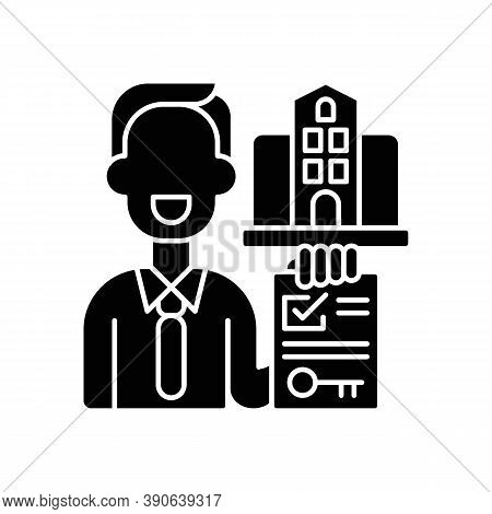 Realtor Black Glyph Icon. Real Estate Agent. Business Contract. Invest Money In Realty. Residential