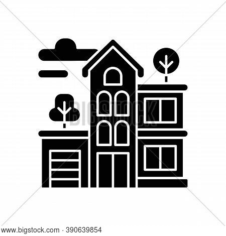 Apartment Building Black Glyph Icon. Condominium Structure. Residential Property. Condo In Neighborh