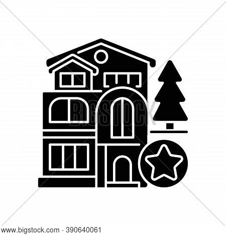 Luxury Home Black Glyph Icon. Mansion For Living. Villa For Dwelling. Premium Residential Property.