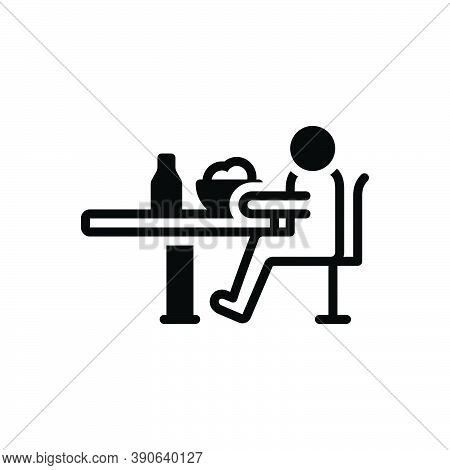 Black Solid Icon For Depending Self-depend Dining-table Meal Eat Bottle Table