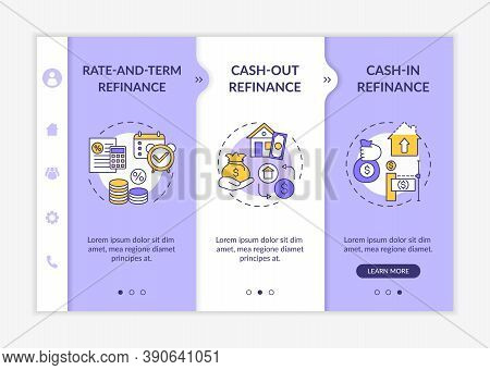 Mortgage Borrowing Types Onboarding Vector Template. Rate-and-term Refinance. Cash-in Refinance. Res