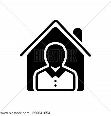 Black Solid Icon For Property Owner Assets Wealth Belongings Possessions House