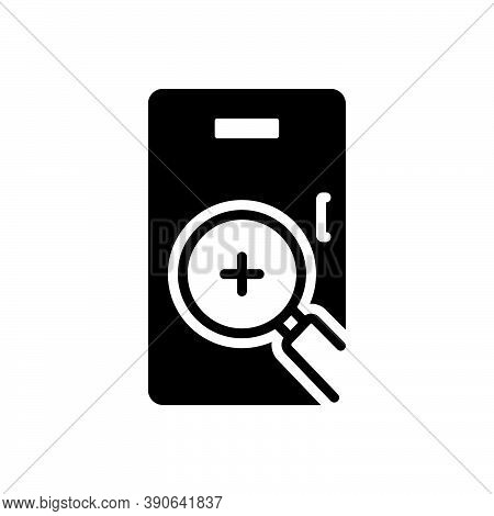 Black Solid Icon For Seek Scrutinize Finding Checking Research Equipment Analyzing