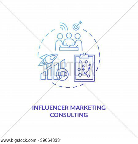 Influencer Marketing Consulting Concept Icon. Building Personal Brand Idea Thin Line Illustration. R