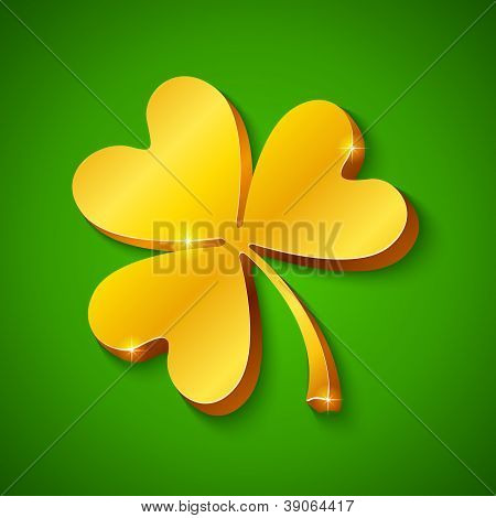 Golden clover on the green background