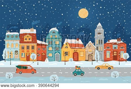 Winter Night City In Retro Style. Christmas Background With Houses, Moon, Cars. Cozy Town In A Flat