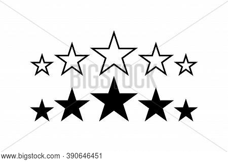 Stars. 5 Stars Product Quality Rating. Black Star Vector Icons. Five Stars Customer Feedback Concept