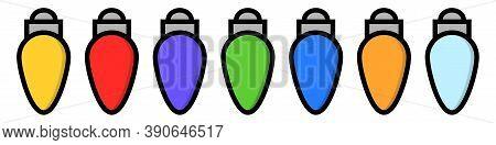 Christmas Garland Bulbs. Cartoon Xmas Lights In Flat. Colorful Strings For New Year. Illuminated Lam