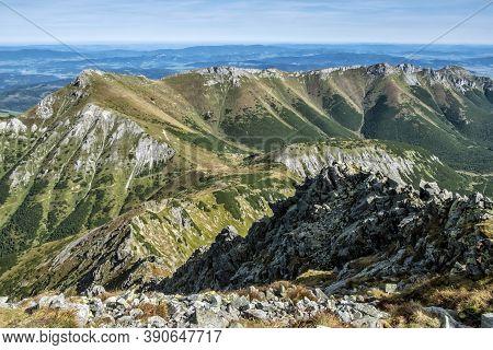 Belianske Tatras From Jahnaci Peak, Slovak Republic. Hiking Theme. Seasonal Natural Scene.