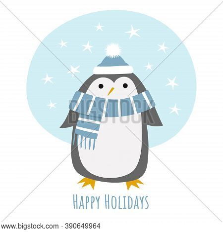 Baby Penguin In A Winter Scarf And Hat. Hand Drawn Creative Vector Illustration For Christmas, With