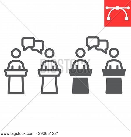 Debate Line And Glyph Icon, Election And Discussion, Political Debate Sign Vector Graphics, Editable