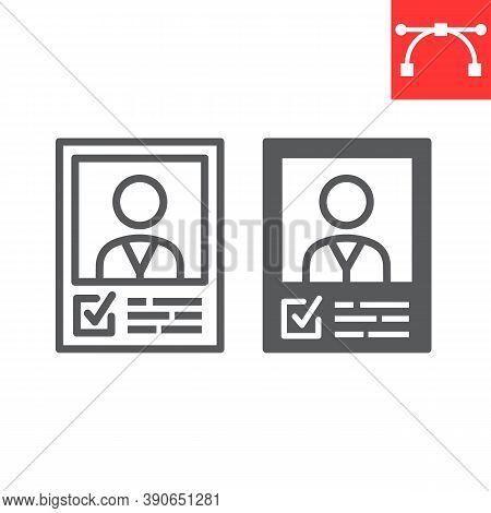Vote Candidate Poster Line And Glyph Icon, Election And Vote, Candidate Sign Vector Graphics, Editab
