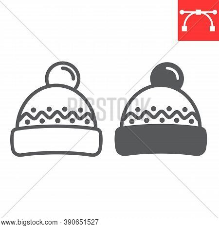 Winter Hat Line And Glyph Icon, Merry Christmas And Clothing, Beanie Hat Sign Vector Graphics, Edita