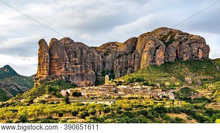 Los Mallos De Aguero, Rock Formations In Huesca - Aragon, Spain