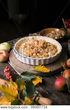 Baking Background With Raw Traditional Classic Apple Pie, Bake  Ingredients And Utensils. Homemade