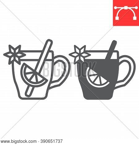 Mulled Wine Line And Glyph Icon, Merry Christmas And Invitation, Glass Of Mulled Wine Sign Vector Gr