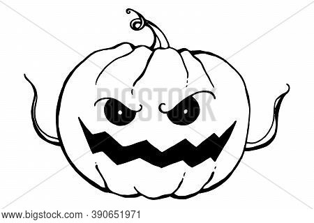 Halloween Lineart Pumpkin With Small Hands-sprouts Isolated On White Background