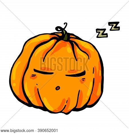 A Bright Vector Pumpkin Sleeps And Snores Sweetly After A Fun Halloween Celebration.