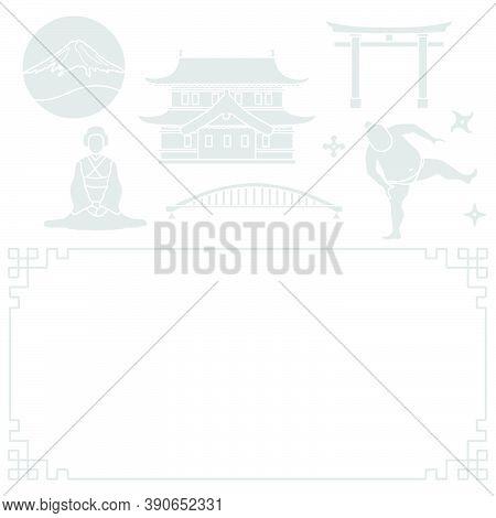 Vector Illustration Symbols Of Japanese Culture Castle Asian Woman In Kimono Sumo Wrestler Shurikens