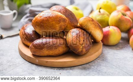 Ready-made Baked Pies (pirogi) With Apple. Traditional Russian Cuisine. Ready-made Baked Pies (pirog