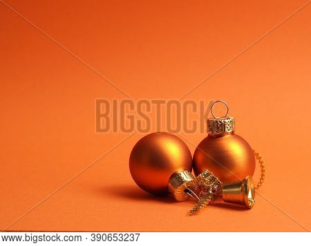 Orange Vintage Christmas Baubles On An Orange Background With Space For Your Text Or Image, Seasonal