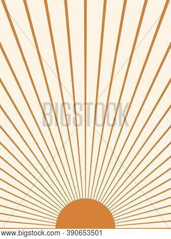 Abstract Sun. Contemporary  Geometric Composition. Boho Wall Decor. Mid Century Art Print.