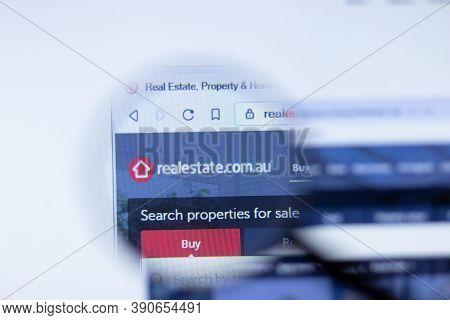 New York, Usa - 29 September 2020: Realestate.com.au Realestate Company Website With Logo Close Up,
