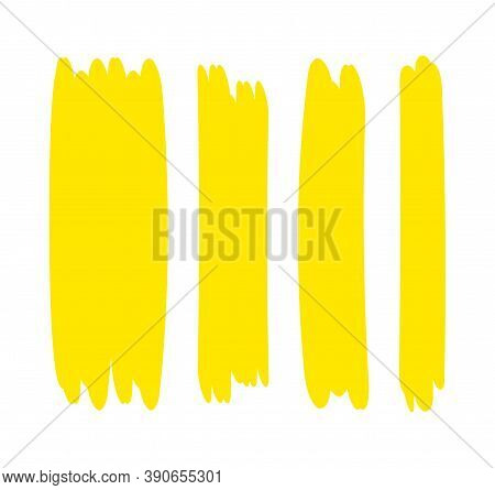 Yellow Stripes Brush Paint For Scribble Marker, Brushstroke Painting Yellow Pastel Soft Color, Yello
