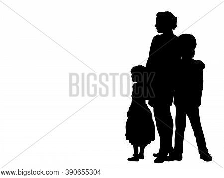 Silhouette Mother With Two Children Side View. Illustration Graphics Icon Vector