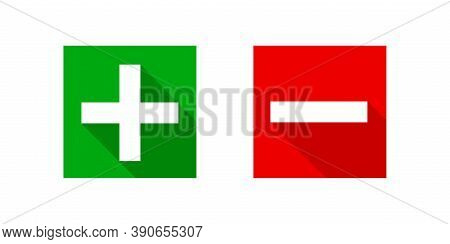 Square Minus And Plus Sign Icons Modern Graphic, Negative And Positive Symbol Isolated On White, Ano